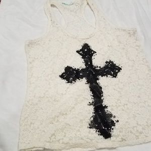 Women's Lace and Cross Tank Top
